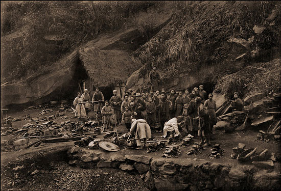 Coal miners in mountain ridge west Of Ta Chu, China [1909] Thomas C. Chamberlin